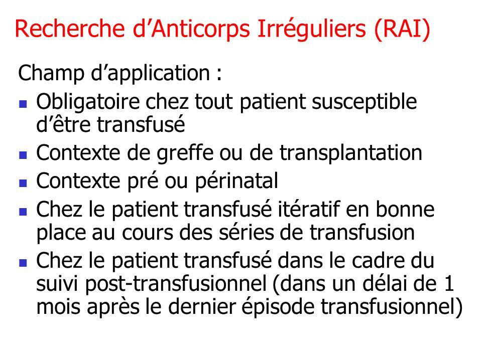 Recherche dAnticorps Irréguliers (RAI) Champ dapplication : Obligatoire chez tout patient susceptible dêtre transfusé Contexte de greffe ou de transpl