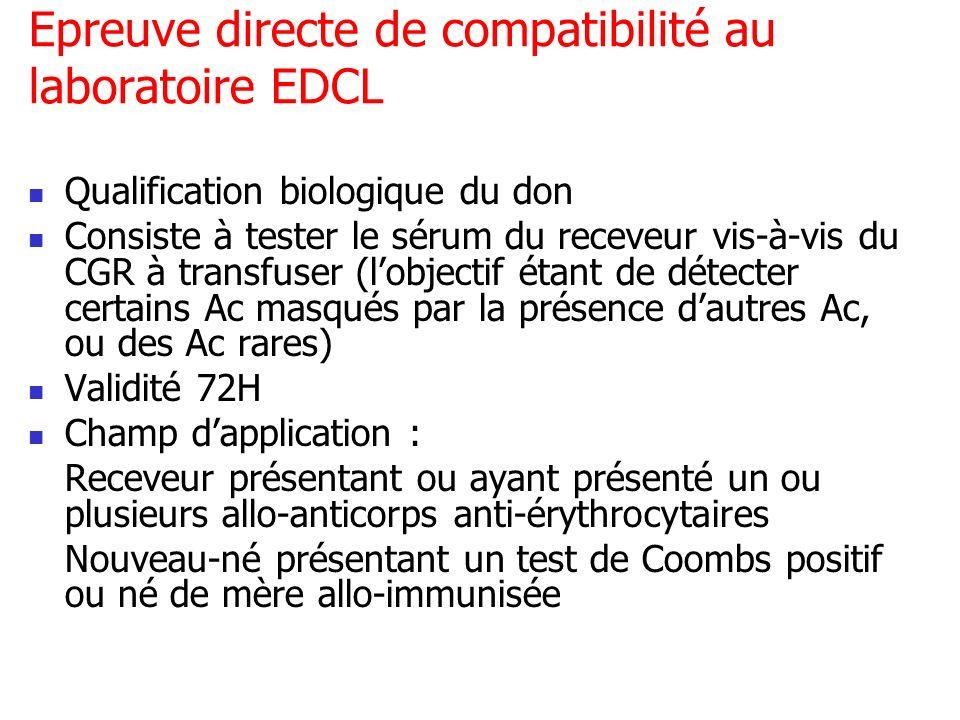 Epreuve directe de compatibilité au laboratoire EDCL Qualification biologique du don Consiste à tester le sérum du receveur vis-à-vis du CGR à transfu