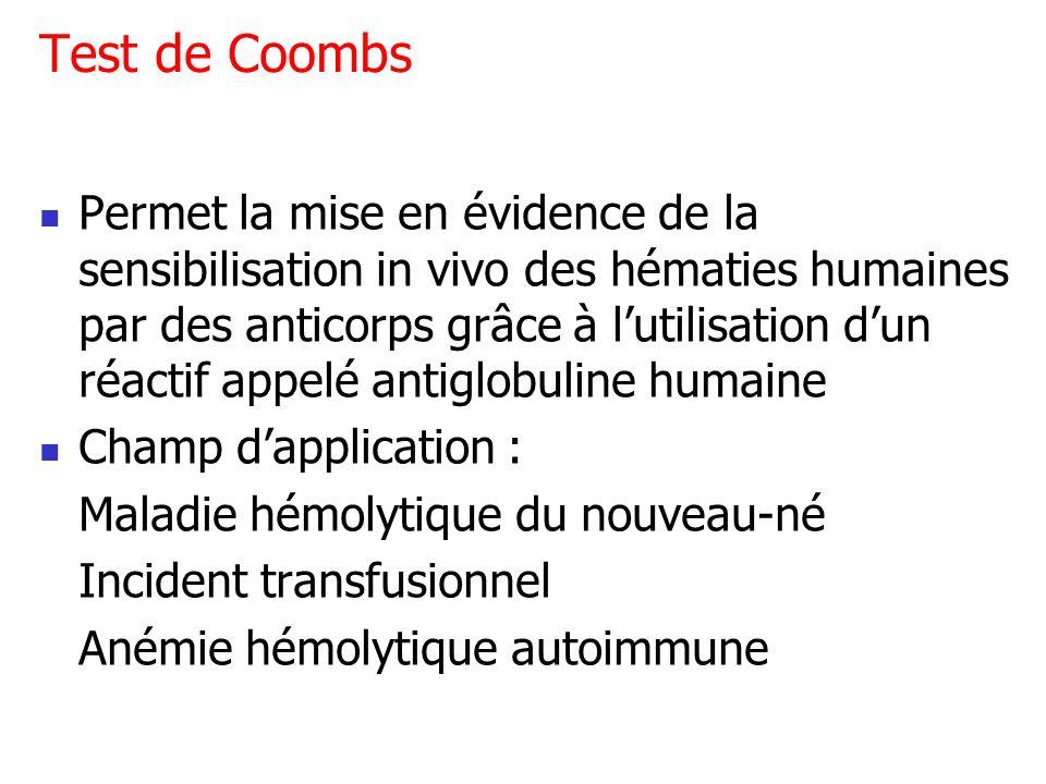 Test de Coombs Permet la mise en évidence de la sensibilisation in vivo des hématies humaines par des anticorps grâce à lutilisation dun réactif appel