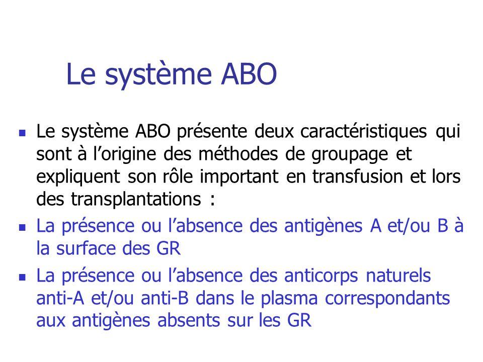Le système ABO Le système ABO présente deux caractéristiques qui sont à lorigine des méthodes de groupage et expliquent son rôle important en transfus