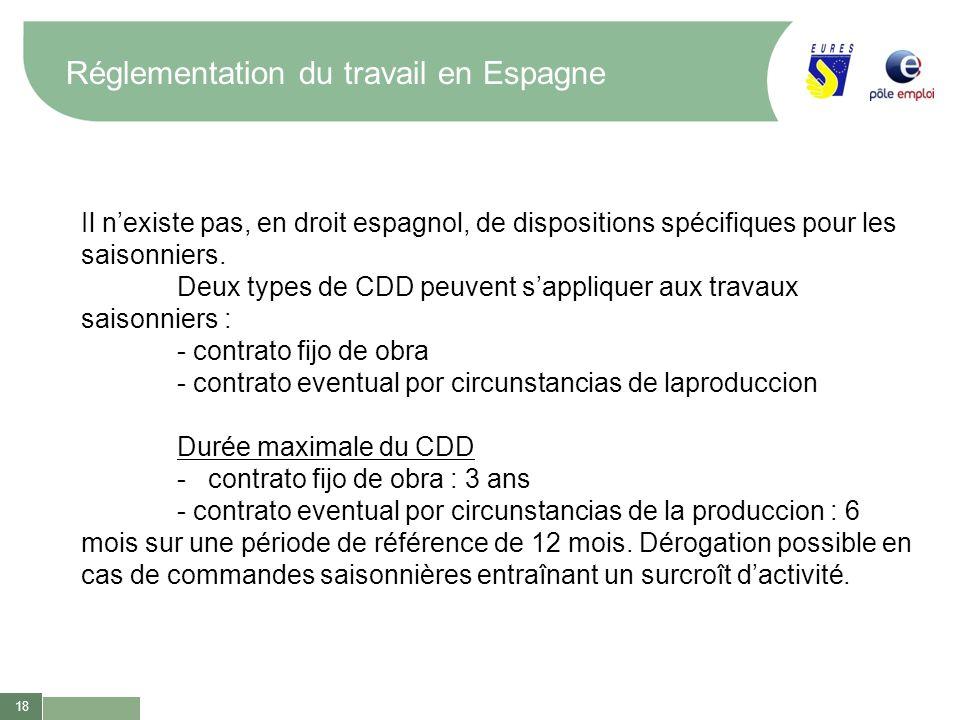 18 Réglementation du travail en Espagne Il nexiste pas, en droit espagnol, de dispositions spécifiques pour les saisonniers. Deux types de CDD peuvent