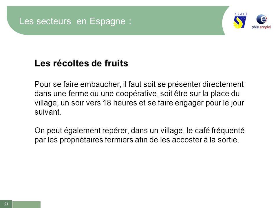 21 Les secteurs en Espagne : Les récoltes de fruits Pour se faire embaucher, il faut soit se présenter directement dans une ferme ou une coopérative,