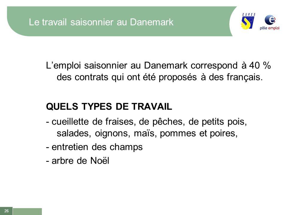 26 Le travail saisonnier au Danemark Lemploi saisonnier au Danemark correspond à 40 % des contrats qui ont été proposés à des français. QUELS TYPES DE