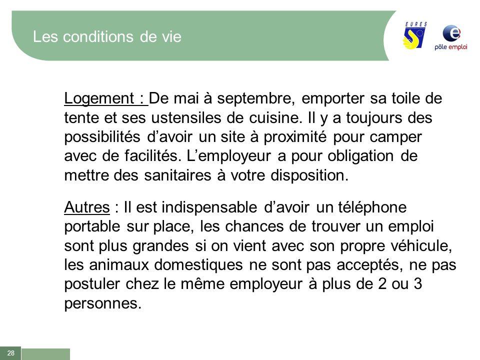 28 Les conditions de vie Logement : De mai à septembre, emporter sa toile de tente et ses ustensiles de cuisine. Il y a toujours des possibilités davo
