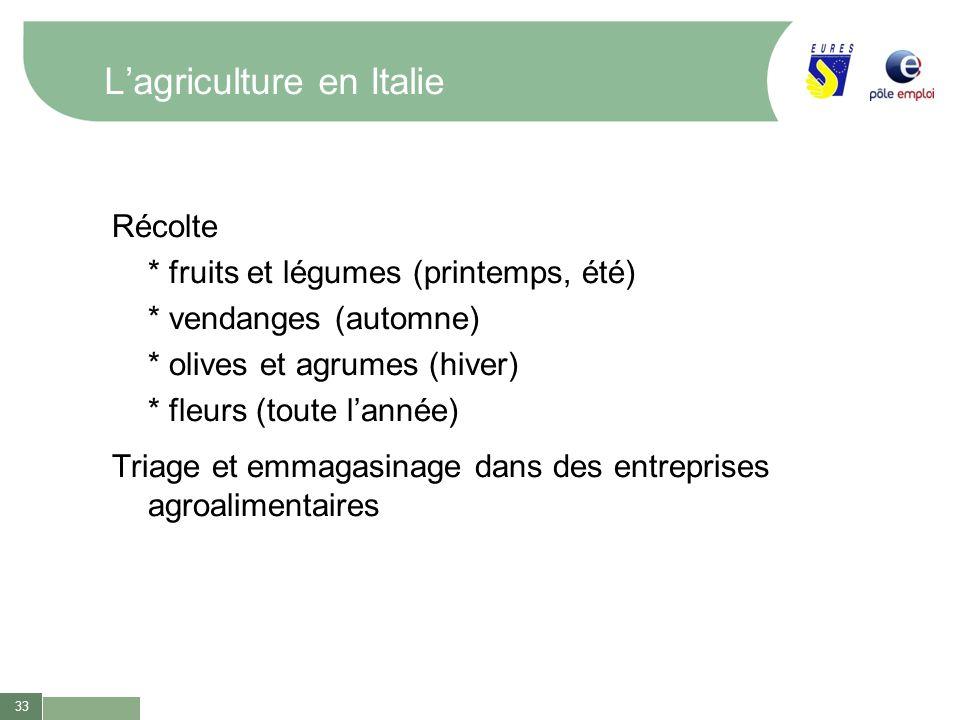 33 Lagriculture en Italie Récolte * fruits et légumes (printemps, été) * vendanges (automne) * olives et agrumes (hiver) * fleurs (toute lannée) Triag