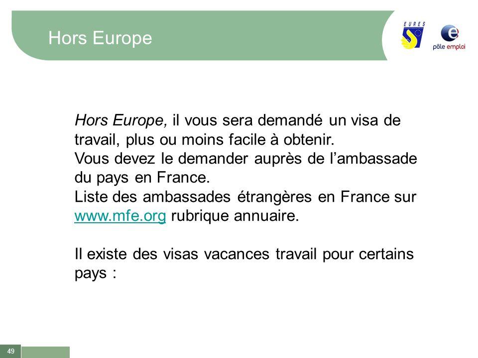 49 Hors Europe Hors Europe, il vous sera demandé un visa de travail, plus ou moins facile à obtenir. Vous devez le demander auprès de lambassade du pa