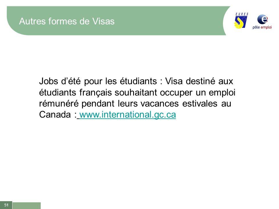 51 Autres formes de Visas Jobs dété pour les étudiants : Visa destiné aux étudiants français souhaitant occuper un emploi rémunéré pendant leurs vacan