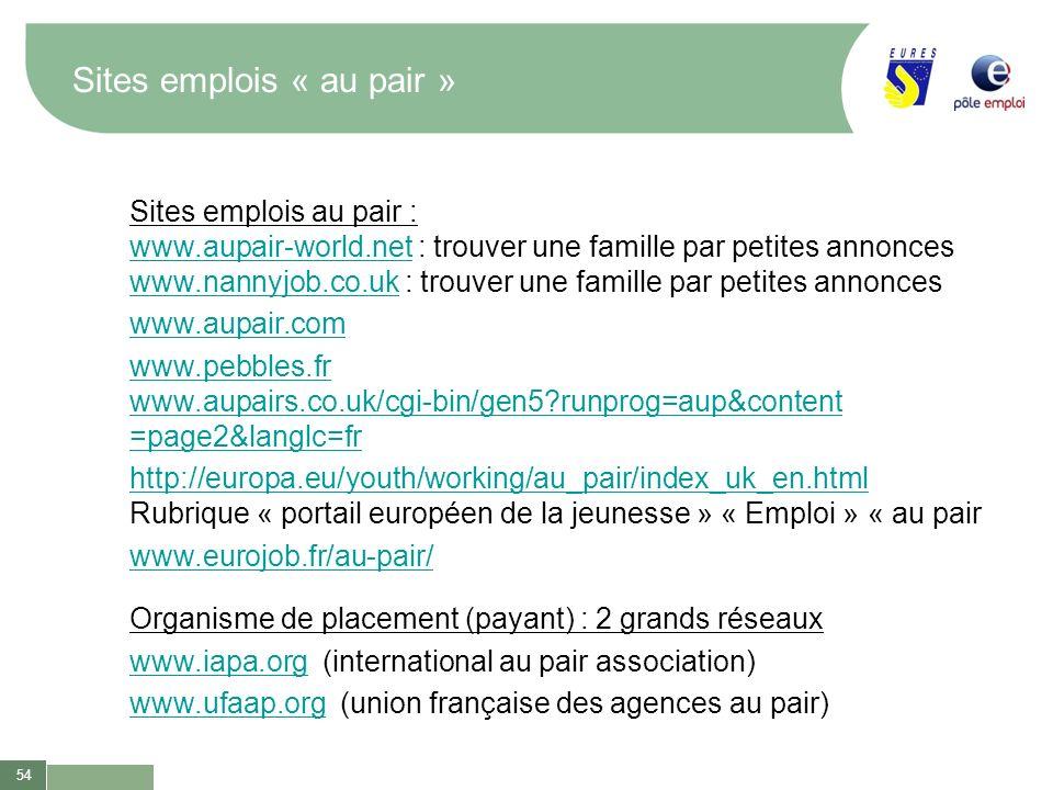 54 Sites emplois « au pair » Sites emplois au pair : www.aupair-world.netwww.aupair-world.net : trouver une famille par petites annonces www.nannyjob.
