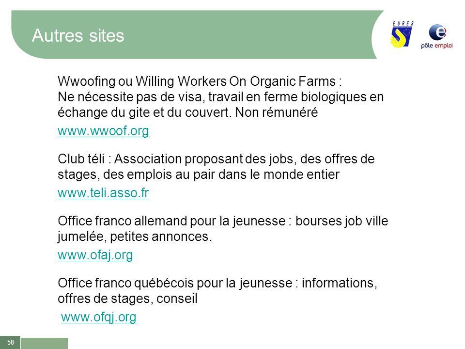 58 Autres sites Wwoofing ou Willing Workers On Organic Farms : Ne nécessite pas de visa, travail en ferme biologiques en échange du gite et du couvert