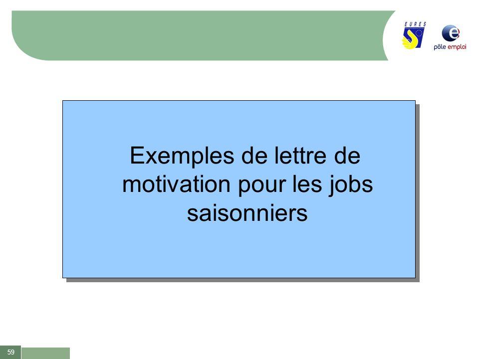 59 Exemples de lettre de motivation pour les jobs saisonniers