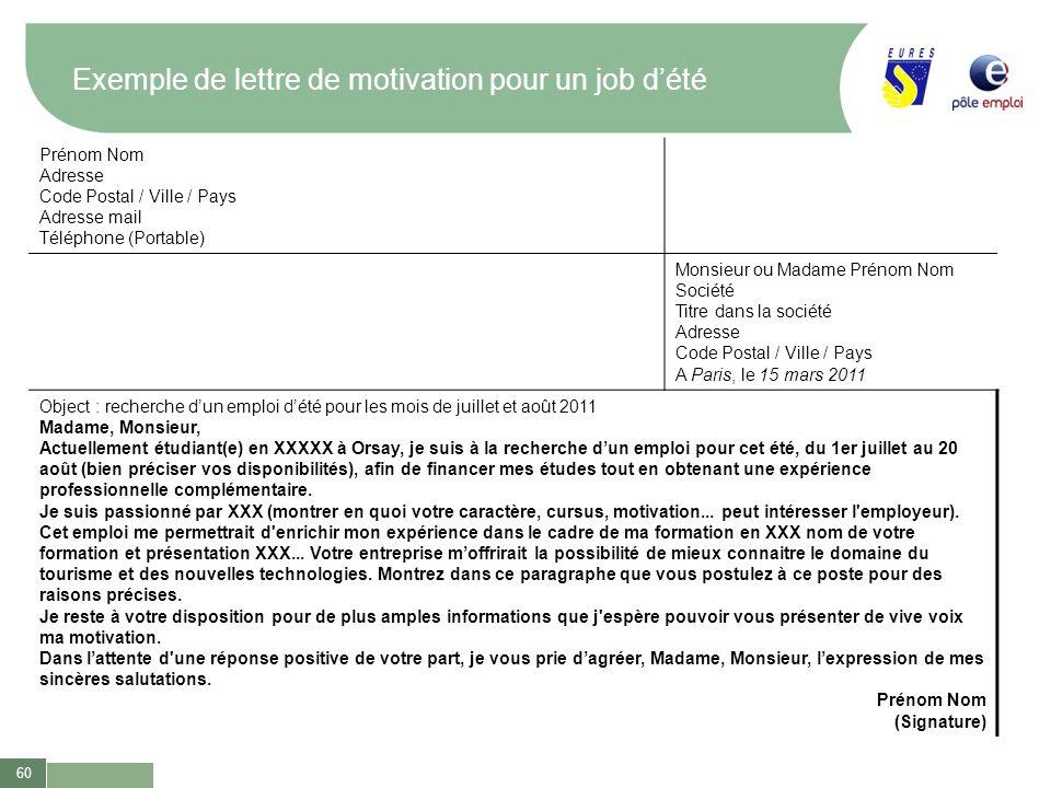60 Exemple de lettre de motivation pour un job dété Prénom Nom Adresse Code Postal / Ville / Pays Adresse mail Téléphone (Portable) Monsieur ou Madame