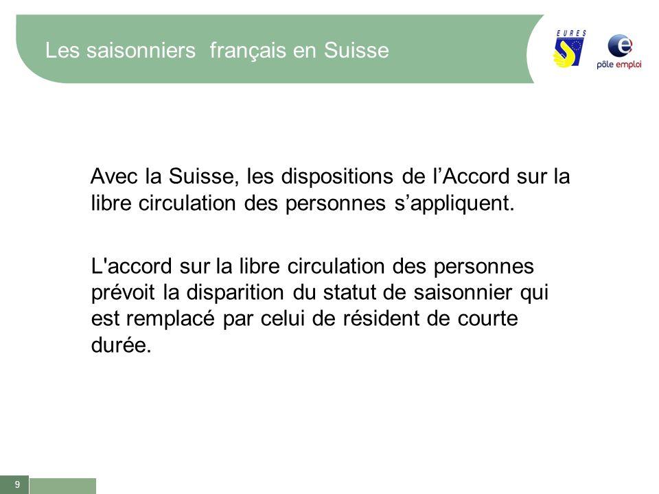 9 Les saisonniers français en Suisse Avec la Suisse, les dispositions de lAccord sur la libre circulation des personnes sappliquent. L'accord sur la l