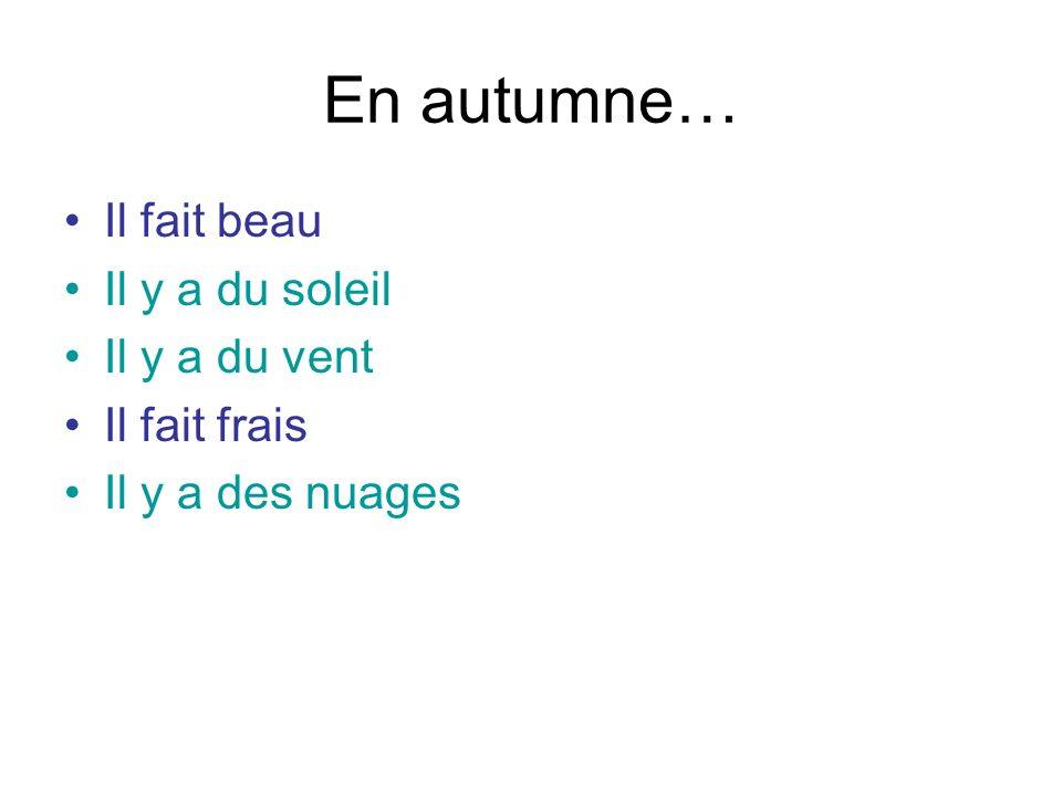 En autumne… Il fait beau Il y a du soleil Il y a du vent Il fait frais Il y a des nuages