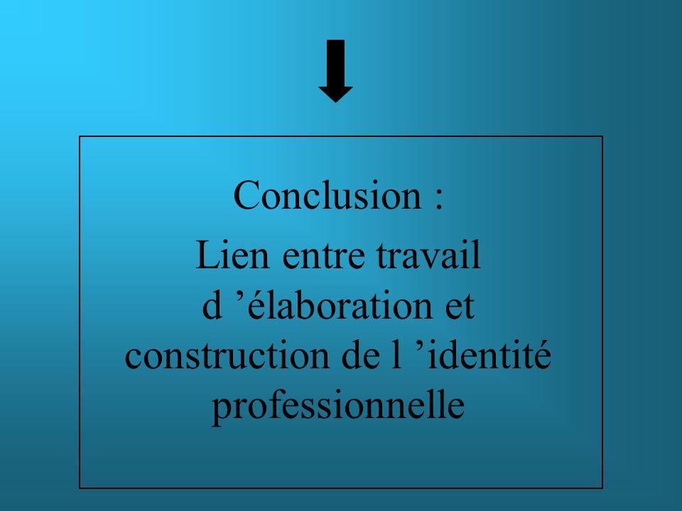 Conclusion : Lien entre travail d élaboration et construction de l identité professionnelle