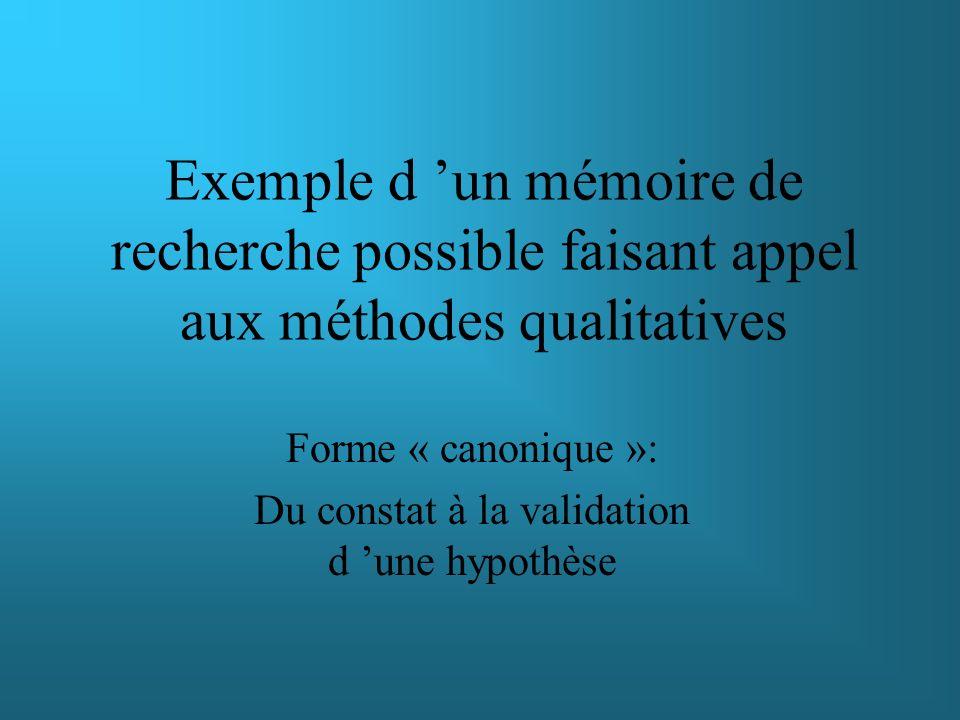 Exemple d un mémoire de recherche possible faisant appel aux méthodes qualitatives Forme « canonique »: Du constat à la validation d une hypothèse