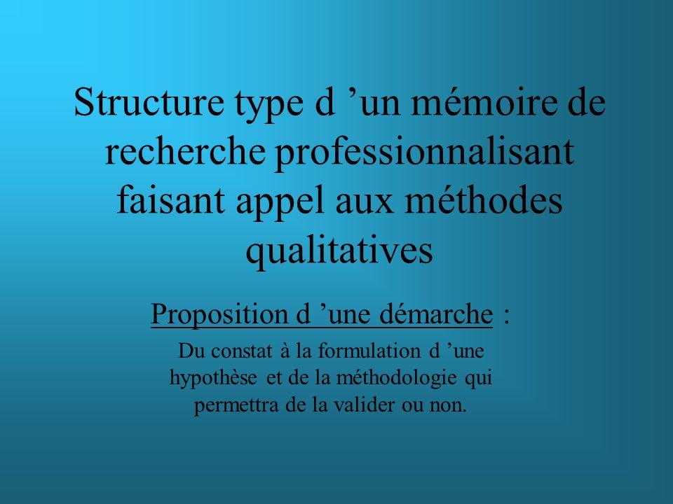 Exemple d un mémoire de recherche professionnalisant faisant appel aux méthodes qualitatives Proposition d une démarche : Du constat à la formulation d une hypothèse et de la méthodologie qui permettra de la valider ou non.