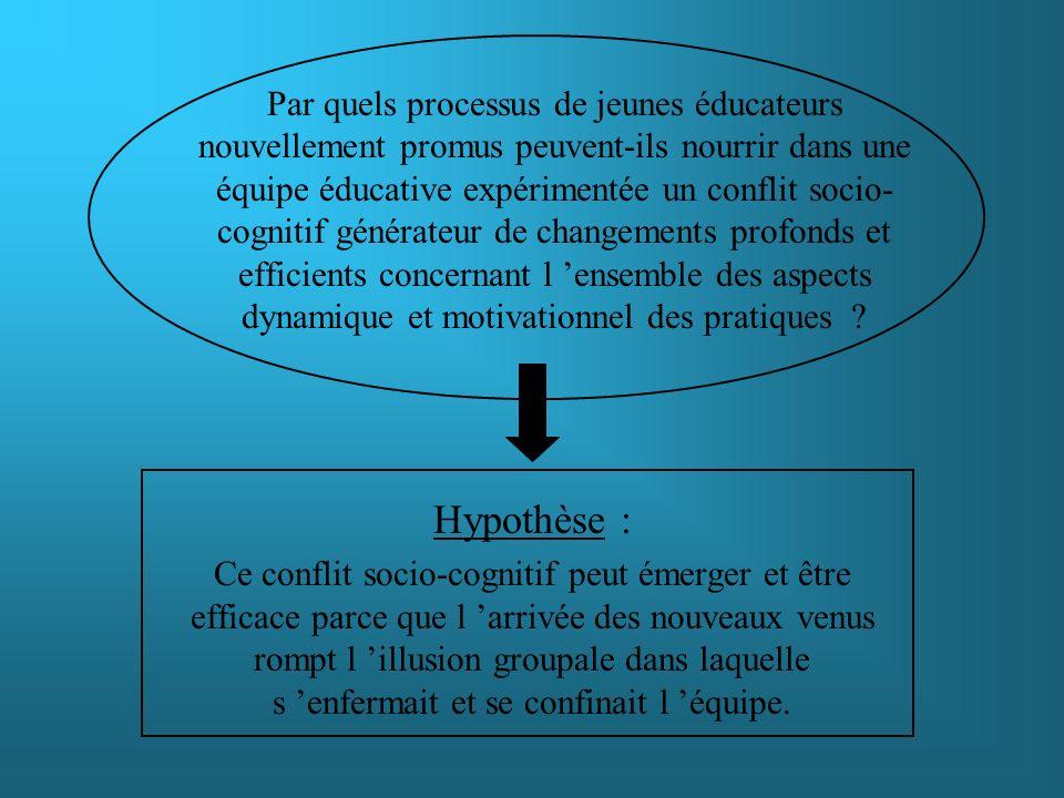 Hypothèse : Ce conflit socio-cognitif peut émerger et être efficace parce que l arrivée des nouveaux venus rompt l illusion groupale dans laquelle s e