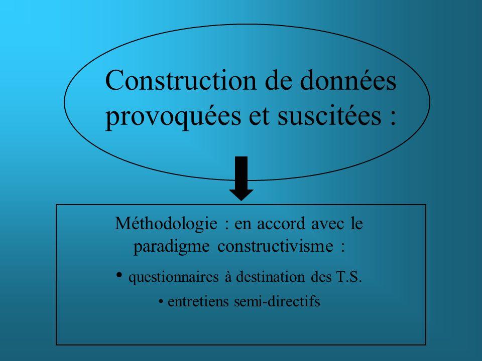 Construction de données provoquées et suscitées : Méthodologie : en accord avec le paradigme constructivisme : questionnaires à destination des T.S. e