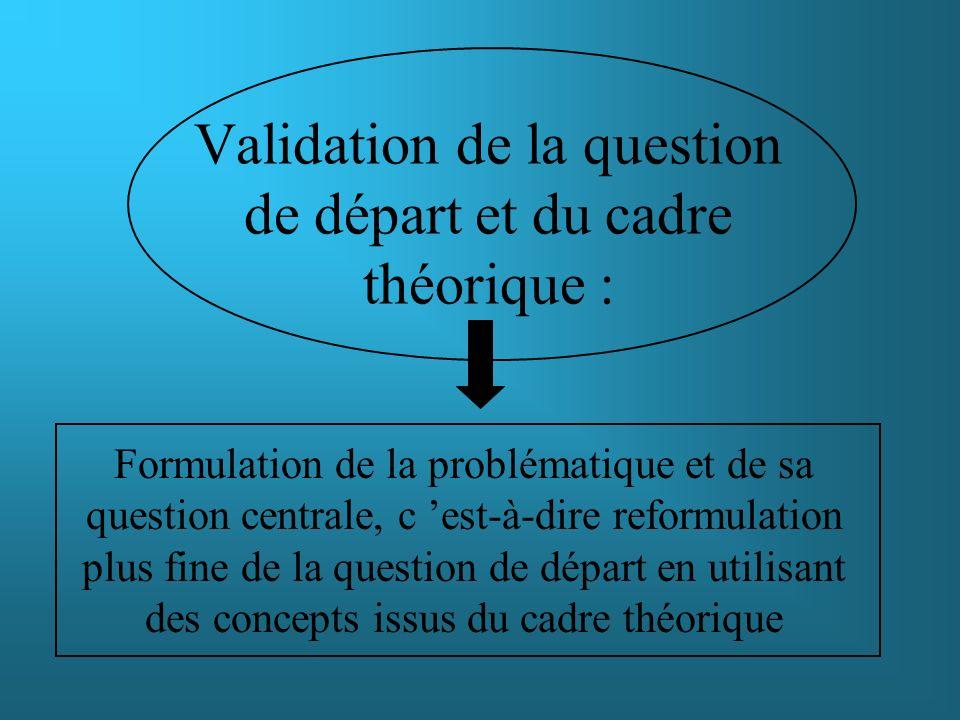Validation de la question de départ et du cadre théorique : Formulation de la problématique et de sa question centrale, c est-à-dire reformulation plu