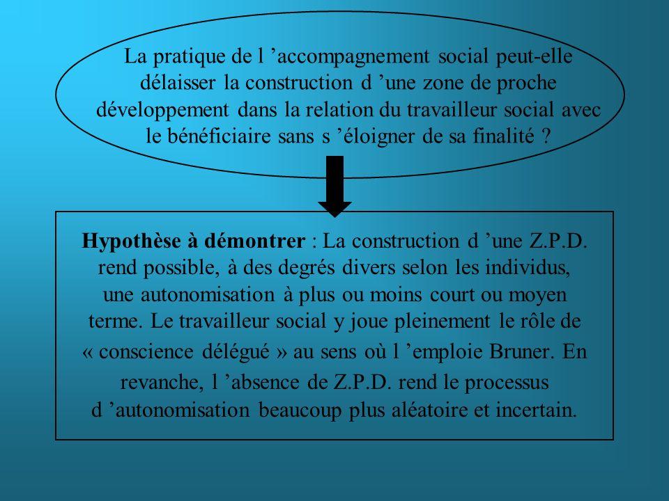Hypothèse à démontrer : La construction d une Z.P.D. rend possible, à des degrés divers selon les individus, une autonomisation à plus ou moins court