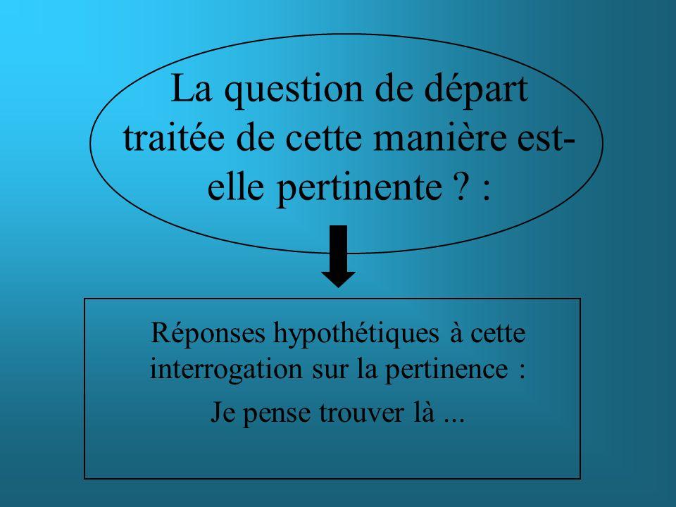 Réponses hypothétiques à cette interrogation sur la pertinence : Pré-enquête afin de valider la pertinence de la question de départ et du cadre théorique