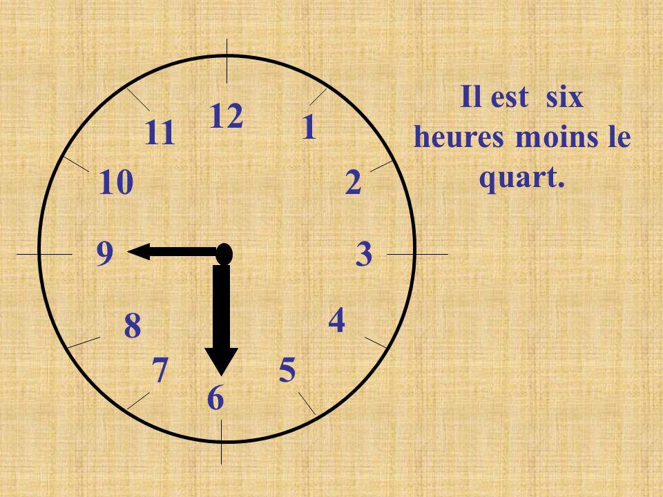 12 1 2 3 4 5 6 7 8 9 10 11 Il est six heures moins le quart.