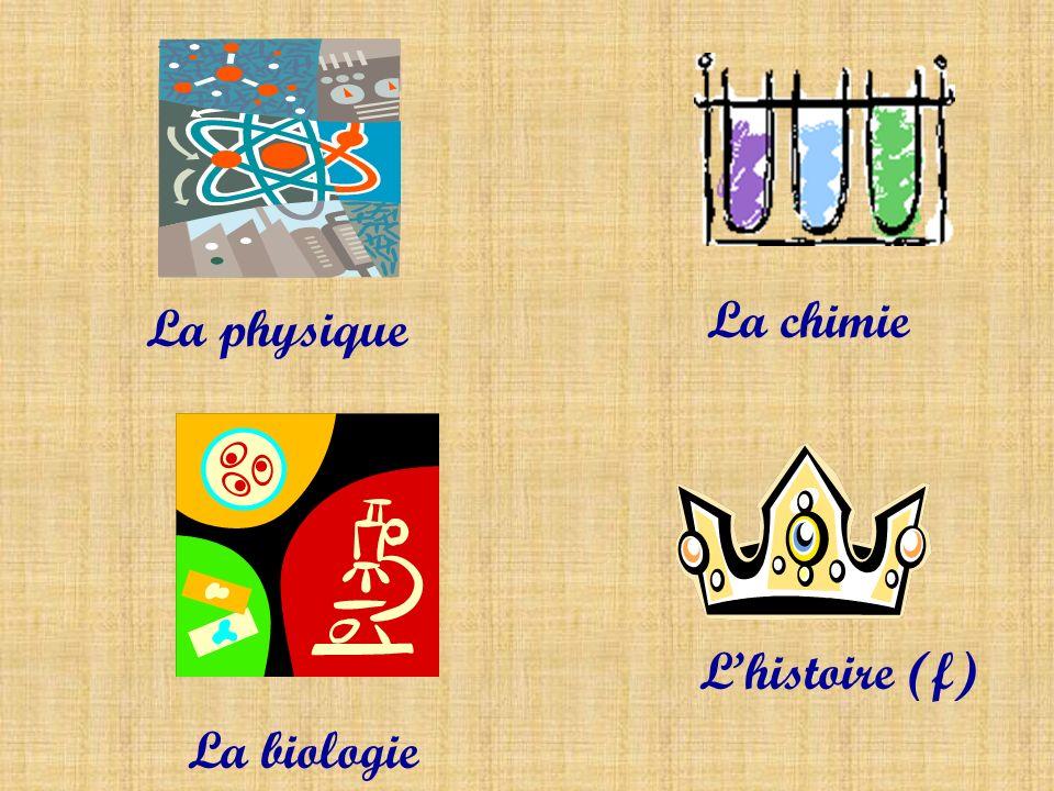La physique La chimie La biologie Lhistoire (f)