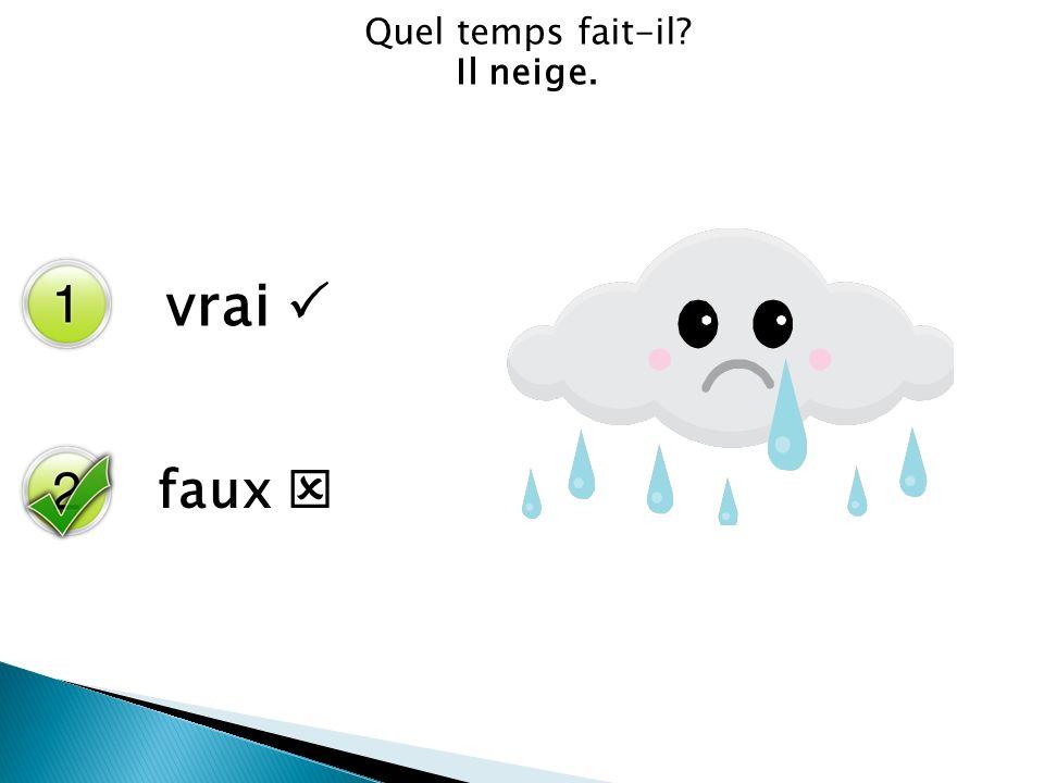 Cherchez lintrus.À Grenoble il neige. Á St. Malo il y a des nuages.