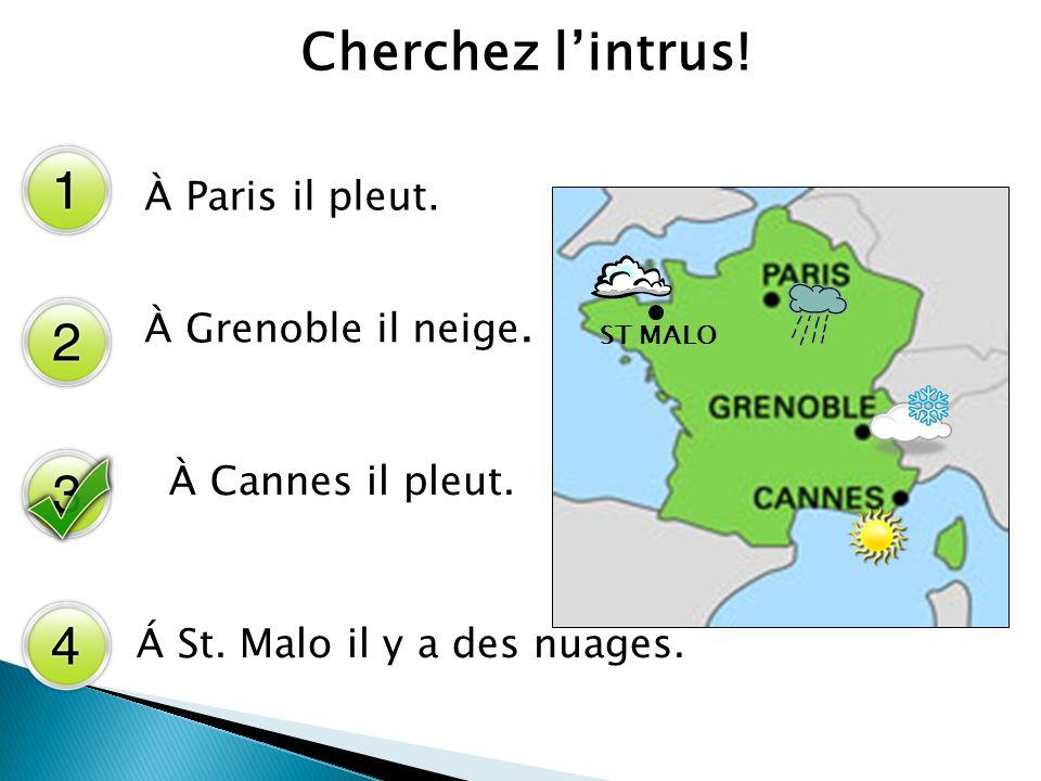 Draw the weather on the map.ST MALO À Cannes il y a des nuages.À Grenoble il y a du soleil.