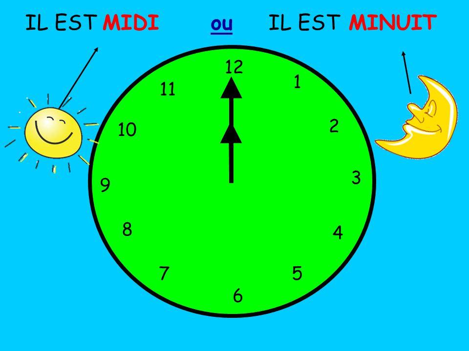 IL EST MIDI ou IL EST MINUIT 12 1 5 4 9 3 6 10 11 2 7 8