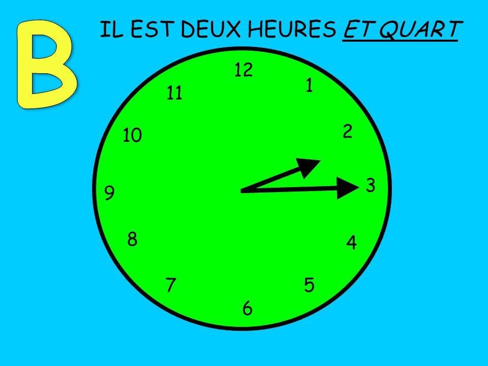 IL EST DEUX HEURES ET QUART 12 1 5 4 9 3 6 10 11 2 7 8