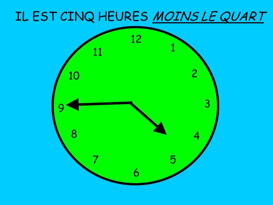 IL EST CINQ HEURES 12 1 5 4 9 3 6 10 11 2 7 8 MOINS LE QUART