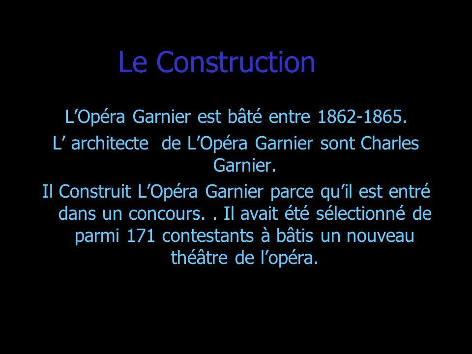 Le Construction LOpéra Garnier est bâté entre 1862-1865. L architecte de LOpéra Garnier sont Charles Garnier. Il Construit LOpéra Garnier parce quil e
