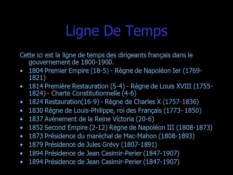 Ligne De Temps Cette ici est la ligne de temps des dirigeants français dans le gouvernement de 1800-1900. 1804 Premier Empire (18-5) - Règne de Napolé