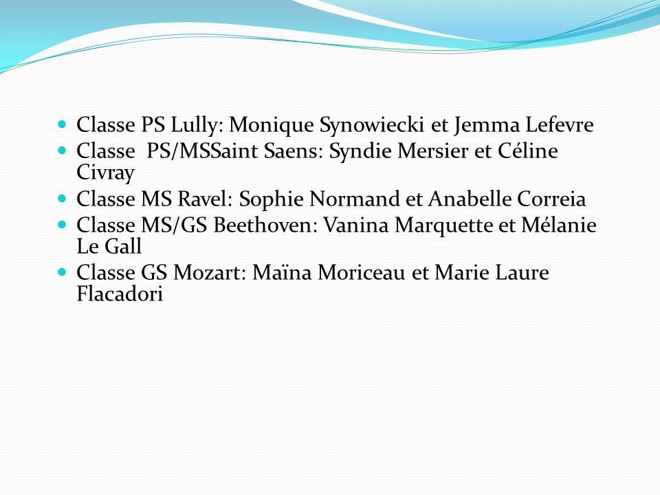 Classe PS Lully: Monique Synowiecki et Jemma Lefevre Classe PS/MSSaint Saens: Syndie Mersier et Céline Civray Classe MS Ravel: Sophie Normand et Anabe