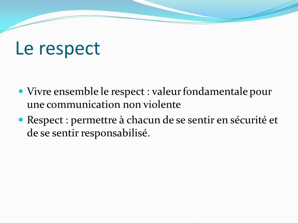 Le respect Vivre ensemble le respect : valeur fondamentale pour une communication non violente Respect : permettre à chacun de se sentir en sécurité e