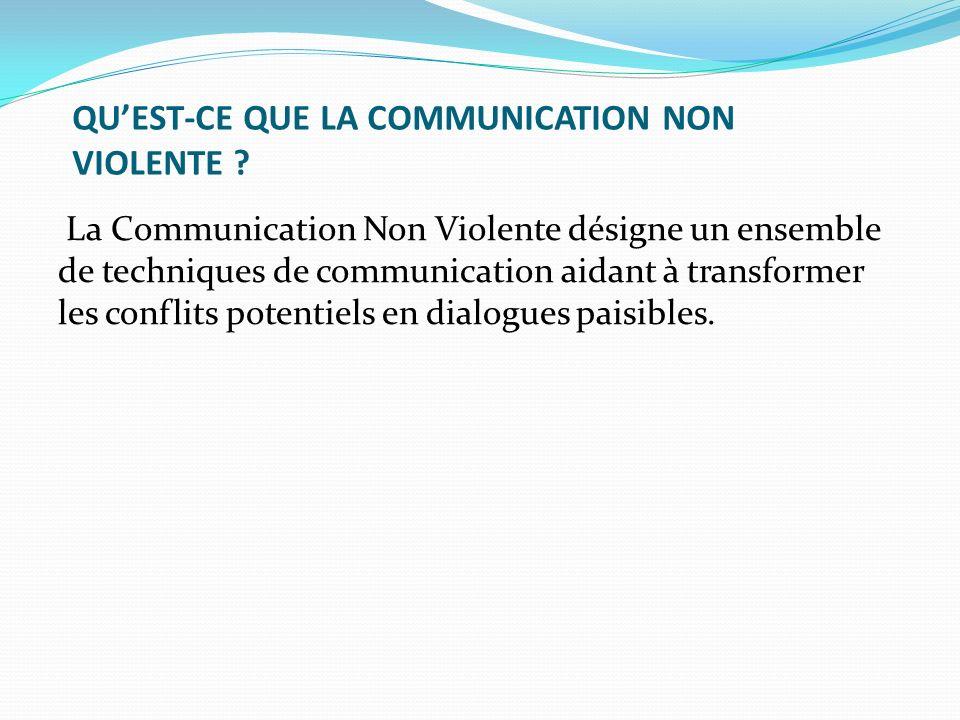 QUEST-CE QUE LA COMMUNICATION NON VIOLENTE ? La Communication Non Violente désigne un ensemble de techniques de communication aidant à transformer les