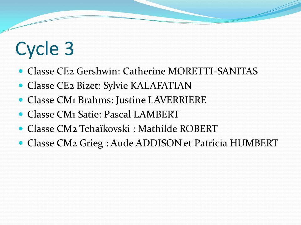 Cycle 3 Classe CE2 Gershwin: Catherine MORETTI-SANITAS Classe CE2 Bizet: Sylvie KALAFATIAN Classe CM1 Brahms: Justine LAVERRIERE Classe CM1 Satie: Pas