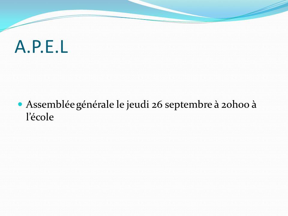 A.P.E.L Assemblée générale le jeudi 26 septembre à 20h00 à lécole