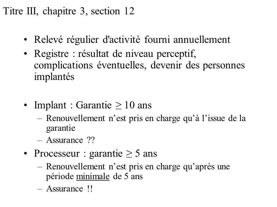 Titre III, chapitre 3, section 12 Relevé régulier d'activité fourni annuellement Registre : résultat de niveau perceptif, complications éventuelles, d