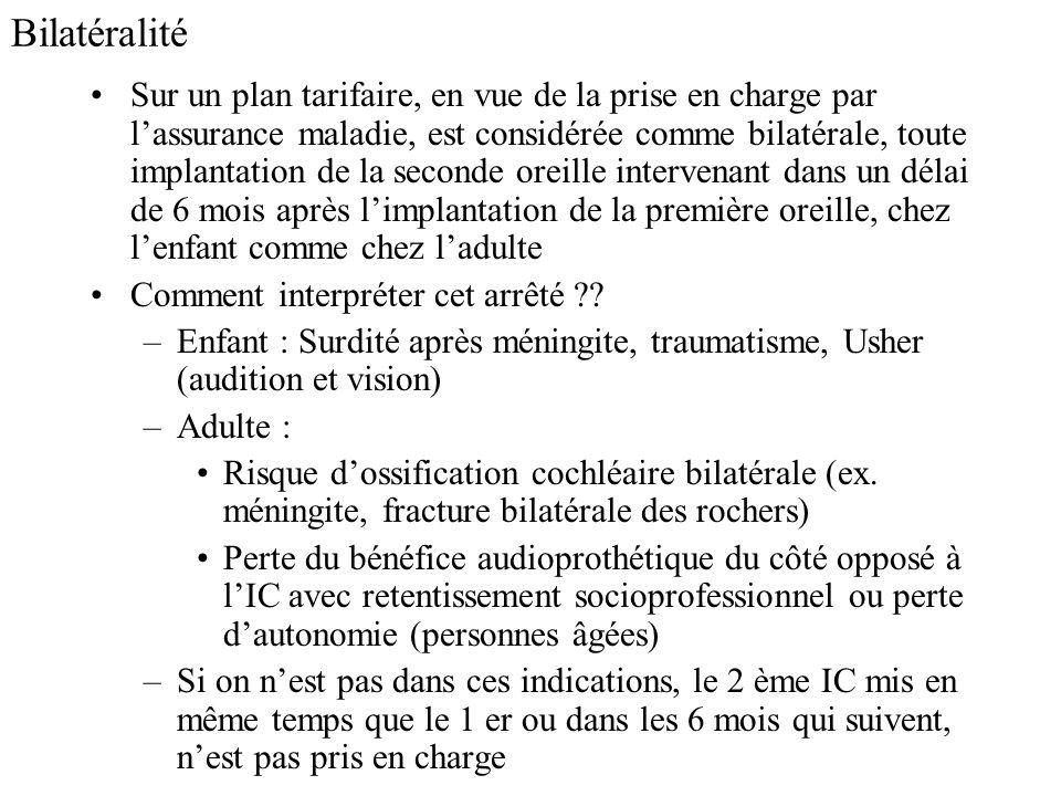 Bilatéralité Sur un plan tarifaire, en vue de la prise en charge par lassurance maladie, est considérée comme bilatérale, toute implantation de la sec