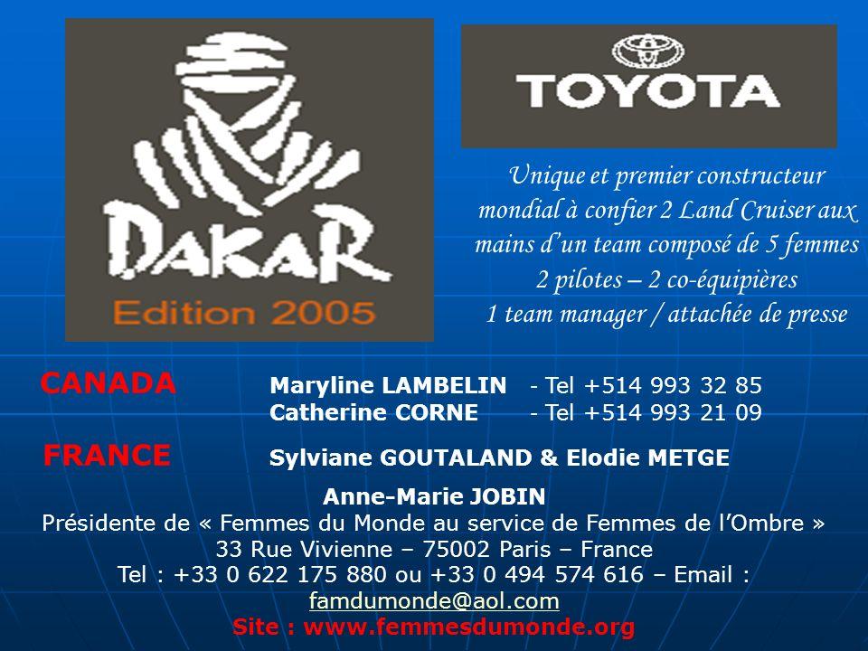 DAKAR 2005 – www.dakar.com Formidable odyssée sportive mondiale www.dakar.com La course la plus mythique de tous les rallyes Raids 27ème édition la plus longue, la plus épuisante physiquement autant que psychologiquement La plus prisée La plus médiatisée Soutenez une action humanitaire et entrez dans la légende du Dakar Rejoignez les fidèles partenaires TOYOTA René FURTERER des Laboratoires Pierre Fabre Champagne MONTAUDON J.F.