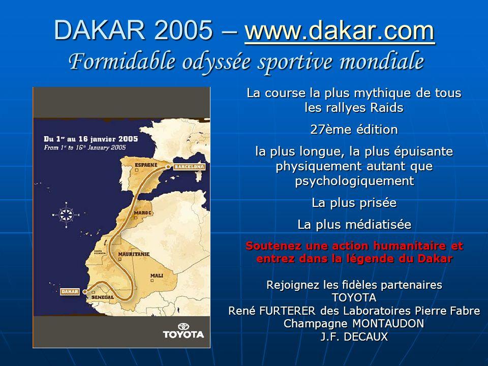 DAKAR 2005 – www.dakar.com Un concept unique, une idée simple www.dakar.com Confier à des femmes sportives à la base, pilotes confirmées, aventurières aussi, mères de famille, chefs dEntreprise, passionnées avant tout par lAfrique et donc par la vie .