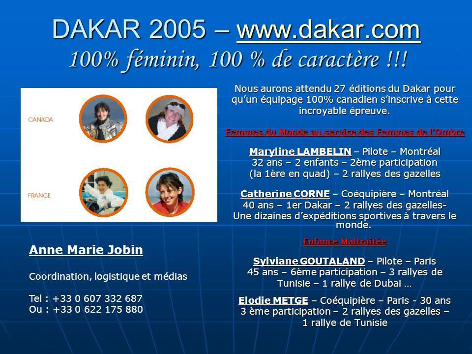 DAKAR 2005 – www.dakar.com 100% féminin, 100 % de caractère !!! www.dakar.com Nous aurons attendu 27 éditions du Dakar pour quun équipage 100% canadie