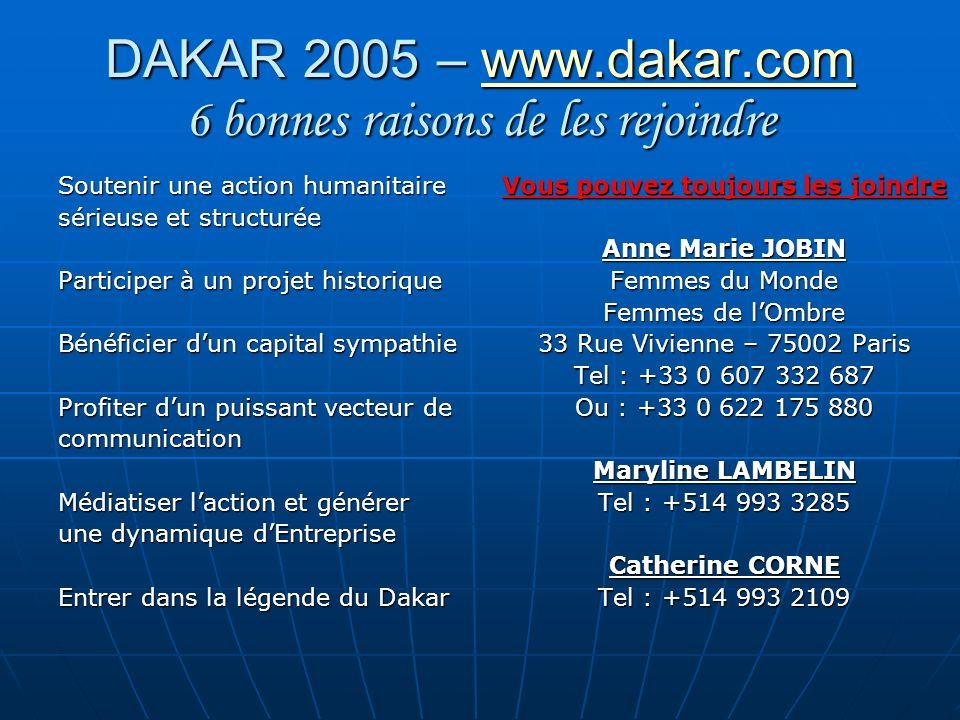 DAKAR 2005 – www.dakar.com 6 bonnes raisons de les rejoindre www.dakar.com Soutenir une action humanitaire sérieuse et structurée Participer à un proj