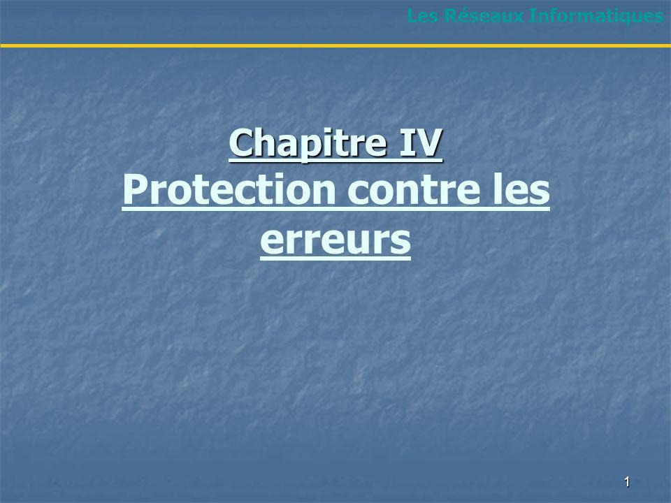 Chapitre IV Chapitre IV Protection contre les erreurs Les Réseaux Informatiques 1