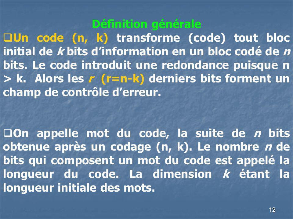 Définition générale Un code (n, k) transforme (code) tout bloc initial de k bits dinformation en un bloc codé de n bits. Le code introduit une redonda