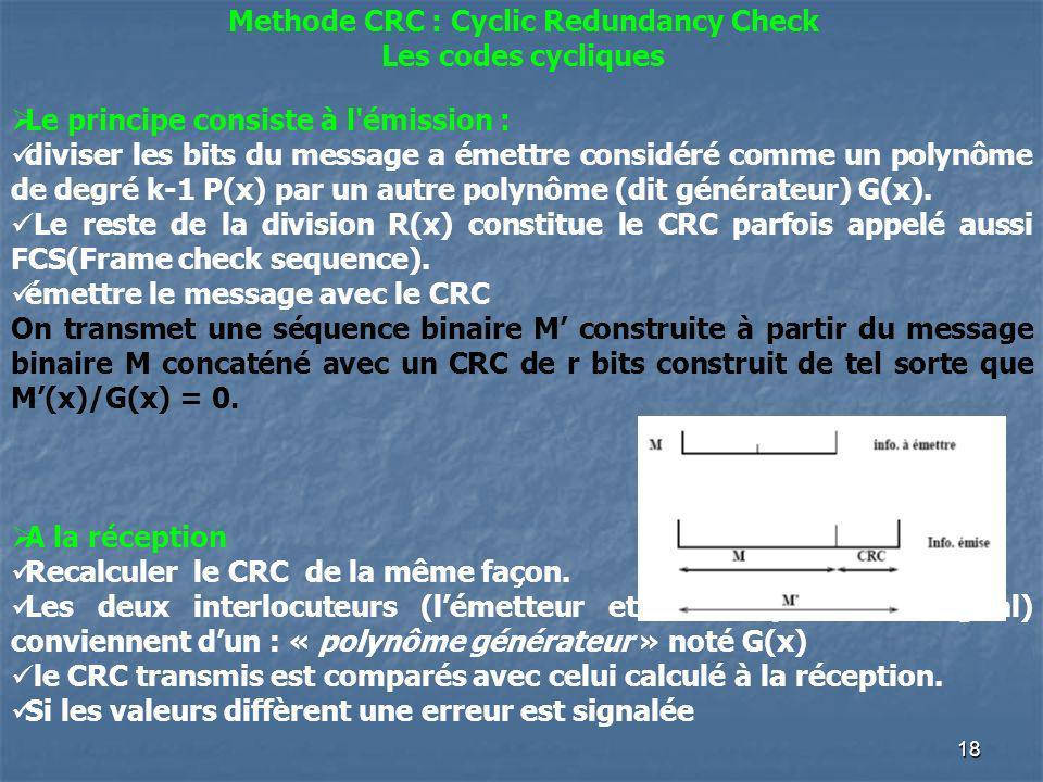Methode CRC : Cyclic Redundancy Check Les codes cycliques Le principe consiste à l'émission : diviser les bits du message a émettre considéré comme un