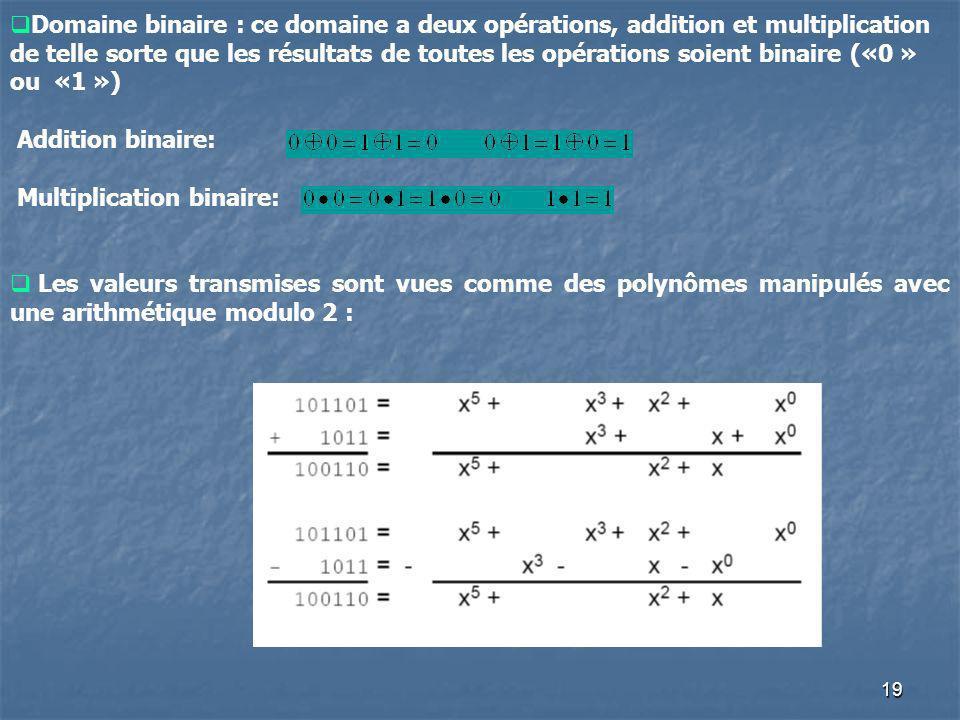 Domaine binaire : ce domaine a deux opérations, addition et multiplication de telle sorte que les résultats de toutes les opérations soient binaire («