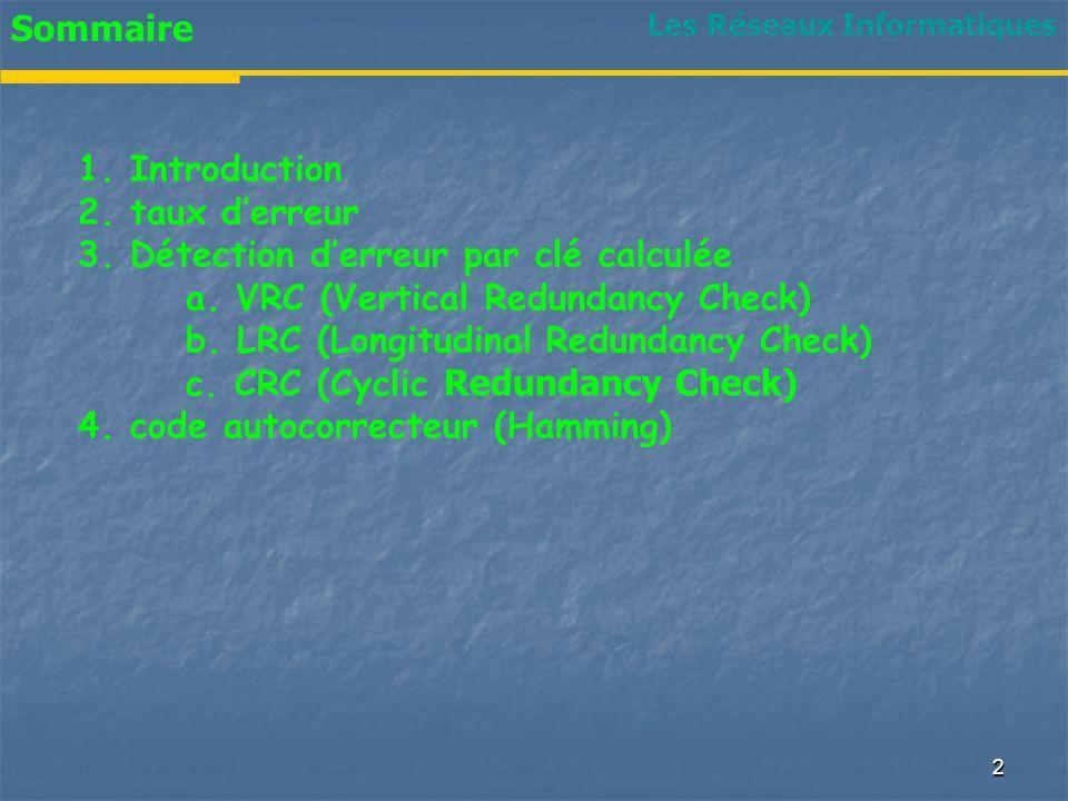 Sommaire 1. Introduction 2. taux derreur 3. Détection derreur par clé calculée a. VRC (Vertical Redundancy Check) b. LRC (Longitudinal Redundancy Chec
